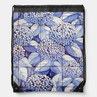 Floral tiles drawstring bag