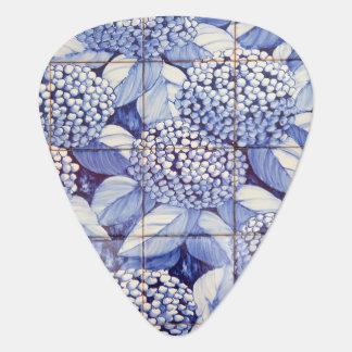 Floral tiles guitar pick