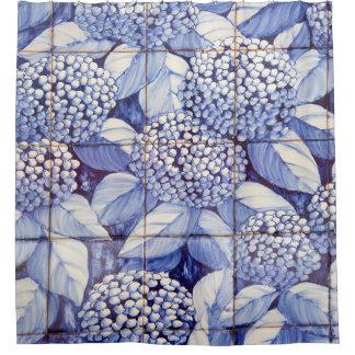 Floral tiles shower curtain