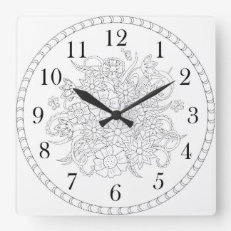 floral Time black&white Square Wall Clock