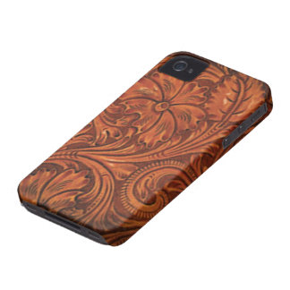 floral tooled leather style iphone iPhone 4 case