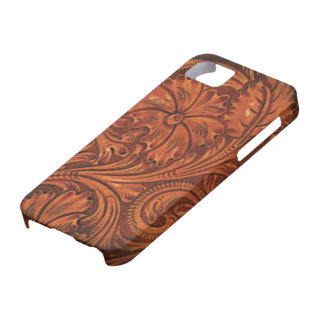 floral tooled leather style iphone iPhone 5 cases