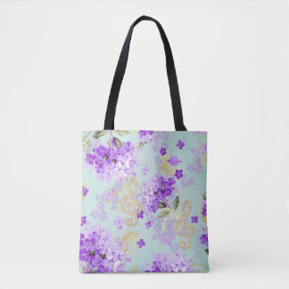 Floral Treble Clef Purple Flowers Tote Bag