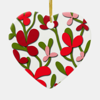 Floral tree ceramic heart decoration