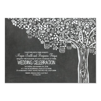 Floral Tree Mason Jar Lights Chalkboard Wedding 13 Cm X 18 Cm Invitation Card