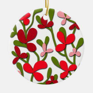 Floral tree round ceramic decoration