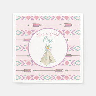 Floral Tribal Teepee Wild One 1st Birthday Disposable Serviettes