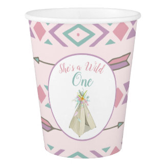 Floral Tribal Teepee Wild One 1st Birthday Paper Cup