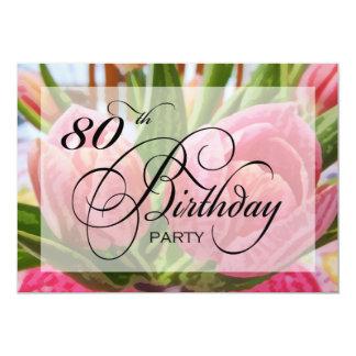Floral Tulip 80th Birthday Party Invitation