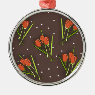 Floral Tulip Design Silver-Colored Round Decoration
