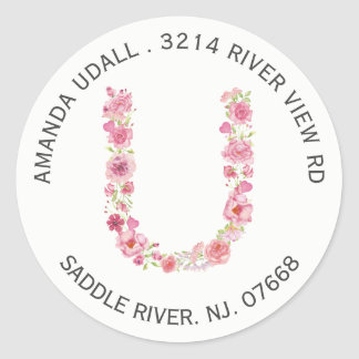 Floral U Initial Monogram Return Address Sticker