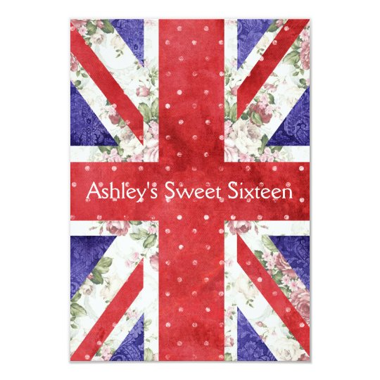 Floral UK Union Jack Flag Polka Dots Sweet 16 Card
