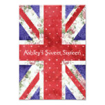 "Floral UK Union Jack Flag Polka Dots Sweet 16 3.5"" X 5"" Invitation Card"