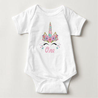 Floral Unicorn 1st Birthday Party Outfit Baby Bodysuit
