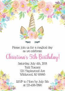 Floral Unicorn Birthday Invitations For Girls