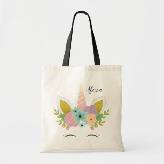 Floral Unicorn Faux Gold Personalised Tote Bag