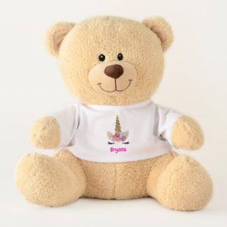 Floral Unicorn Horn Cute Personalized Teddy Bear
