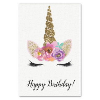Floral Unicorn Horn Gold Glitter Birthday Party Tissue Paper