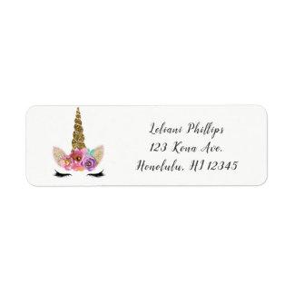 Floral Unicorn Horn Modern Girls Birthday Party Return Address Label