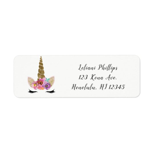 Floral Unicorn Horn Modern Girls Birthday Party Return Address Label