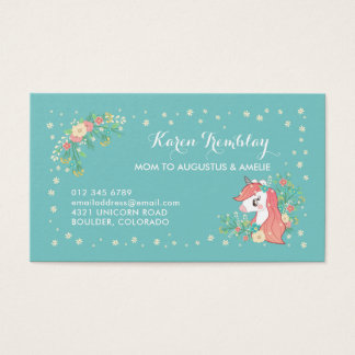 Floral Unicorn Mommy Card