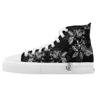 Floral Unicorn: White on Black Printed Shoes