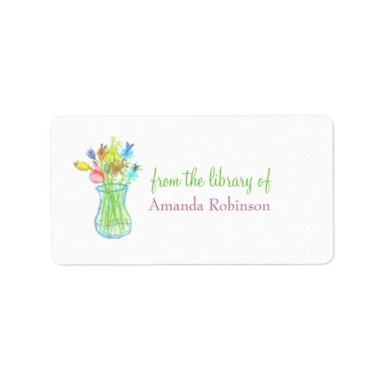 Floral vase personalised bookplate label