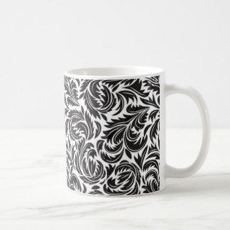 Floral Victorian Black on White Coffee Mug