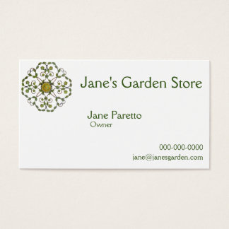 floral vine flower design pattern - green yellow business card