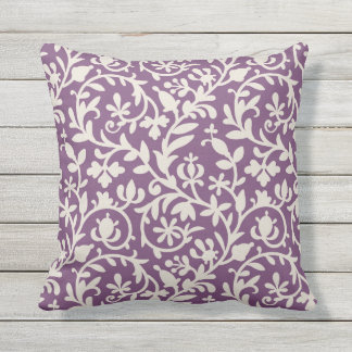 Floral Vine Pattern | Plum Purple and Beige Outdoor Cushion