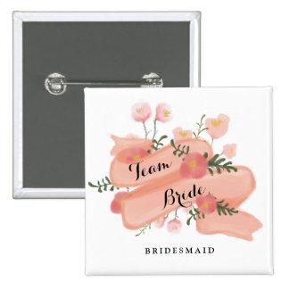 Floral Vintage Banner Team Bride Bridesmaid 15 Cm Square Badge