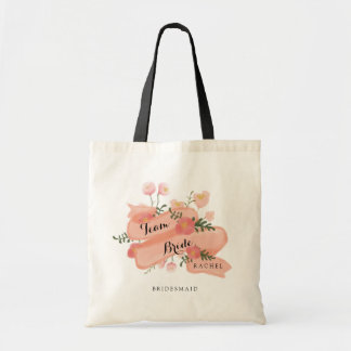 Floral Vintage Banner Team Bride Bridesmaid Tote Bag