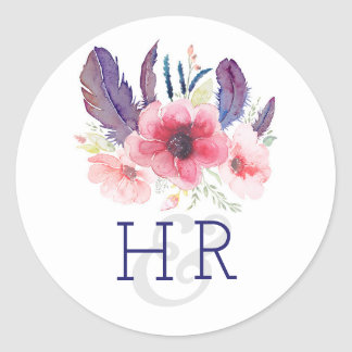 Floral Vintage Boho Watercolor Wedding Round Sticker