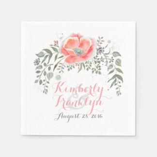 Floral Vintage Boho Wedding Disposable Napkins