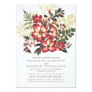 Floral Vintage Burgundy Wedding 13 Cm X 18 Cm Invitation Card