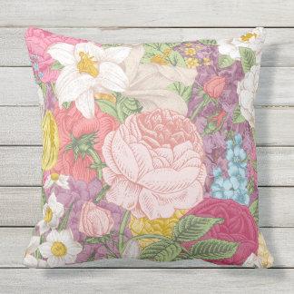 Floral Vintage, Flower Pattern Multicolor Pillow