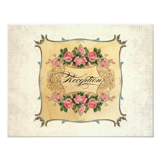 Floral Vintage Modern Pink Roses Love Birds Swirls Card