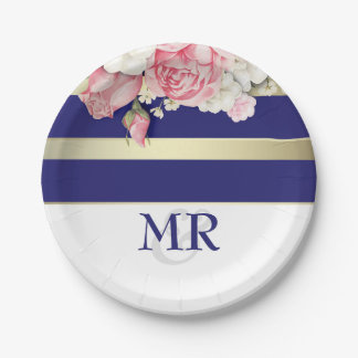 Floral Vintage Navy Gold White Stripes Wedding 7 Inch Paper Plate