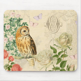 Floral vintage owl mousepad with beautiful roses