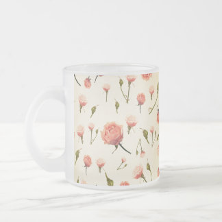 Floral vintage pink girly offwhite 1920s art deco frosted glass mug