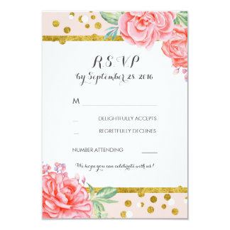 floral vintage pink gold stripes wedding rsvp 9 cm x 13 cm invitation card