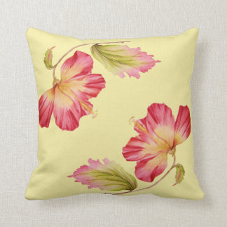 Floral Vintage Pink Hibiscus Throw Pillow