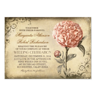 Floral Vintage - Pink Peony Wedding Invitations