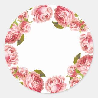 Floral Vintage Pink Roses Custom Blank Round Sticker
