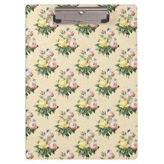 Floral vintage rose flower pattern clipboard