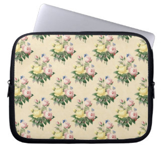 Floral vintage rose flower pattern laptop sleeve
