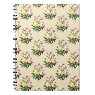 Floral vintage rose flower pattern notebook