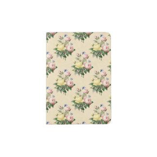 Floral vintage rose flower pattern passport holder
