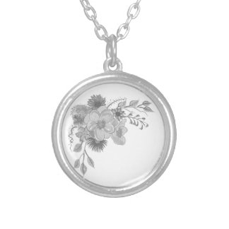Floral Vintage Silver Watercolor Elegant Artistic Silver Plated Necklace