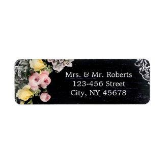 floral vintage typography Chalkboard wedding Return Address Label